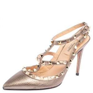 Valentino Metallic Grey Leather Rockstud Pointed Toe Sandals Size 38
