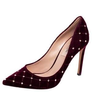 Valentino Burgundy Velvet Rockstud Spike Pointed Toe Pumps Size 36.5