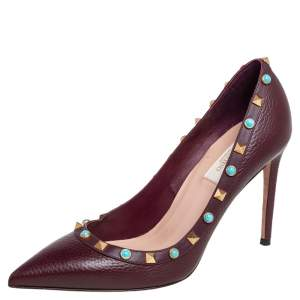 Valentino Burgundy Leather Rolling Rockstud Pointed Toe Pumps Size 39