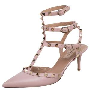 Valentino Pink Leather Rockstud Caged Pointed Toe Ankle Strap Sandals Size 38.5