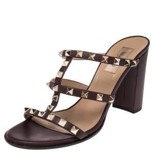 Valentino Burgundy Leather Rockstud Block Heel Slides Sandals Size 39