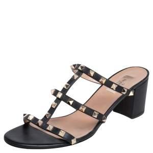 Valentino Black Leather Rockstud Block Heel Slides Sandals Size 41