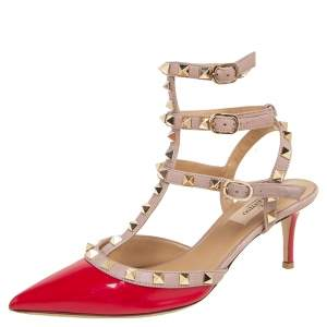 Valentino Pink/Red Patent Leather Rockstud Ankle Strap Sandals Size 38