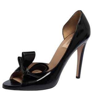 Valentino Black Patent Leather D'Orsay Couture Bow Peep Toe Platform Pumps Size 41
