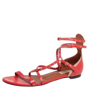 Valentino Red Leather Strappy Open Toe Flats Size 39