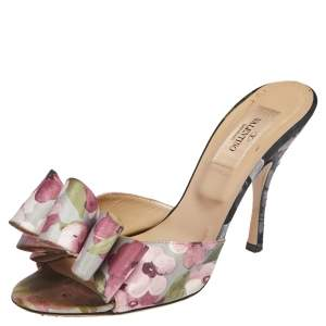 Valentino Multicolor Floral Print Fabric Bow Slide Sandals Size 37.5