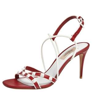 Valentino White/Red Leather Rockstud Open Toe Sandals Size 36.5