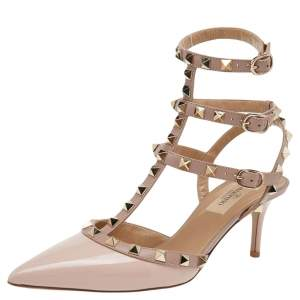 Valentino Pink/Beige Patent and Leather Rockstud Ankle Strap Pointed Toe Sandals Size 37