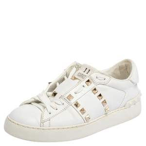 Valentino White Leather Rockstud Untitled Low Top Sneakers Size 36
