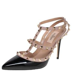 Valentino Beige/Black Patent Leather and Leather Rockstud Pointed Toe Ankle Strap Sandals Size 37.5