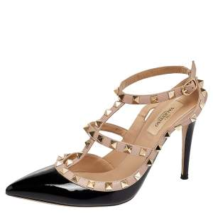 Valentino Black/Beige Patent Leather And Leather Rockstud Ankle Strap Sandals Size 38.5
