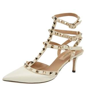 Valentino White Lizard Embossed Leather And Leather Rockstud Ankle Strap Sandals Size 36
