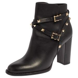 Valentino Black Leather Rockstud  Ankle Boots Size 37.5