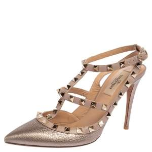 Valentino Metallic Gold Leather Rockstud Pointed Toe Sandals Size 37.5