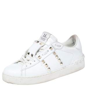 Valentino White Leather Rockstud Lace Up Sneakers Size 37.5