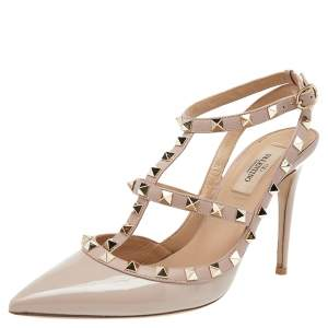 Valentino Nude Patent Leather Rockstud Ankle Strap Sandals Size 38.5