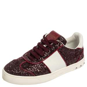 Valentino Red/White Leather and Glitter Rockstud Low Top Sneakers Size 37.5