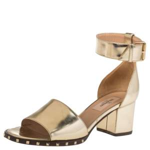 Valentino Gold  Leather Rockstud Ankle Cuff Sandals Size 35.5