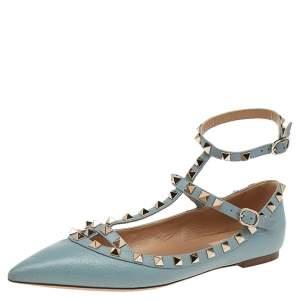 Valentino Pale Blue Leather Rockstud Ankle Strap Ballet Flats Size 38.5