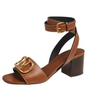 Valentino Tan Leather V Logo Ankle Wrap Sandals Size 37