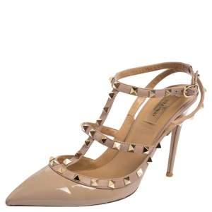 Valentino Beige Patent Leather Rockstud Pointed Toe Ankle Strap Sandals Size 41