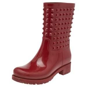Valentino Red Rubber Rockstud Rain Boots Size 38