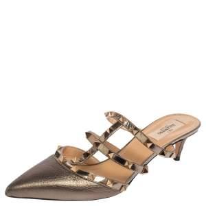 Valentino Metallic Bronze Leather Rockstud Mule Sandals Size 40