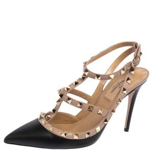 Valentino Black Leather Rockstud Pointed Toe Sandals Size 37.5