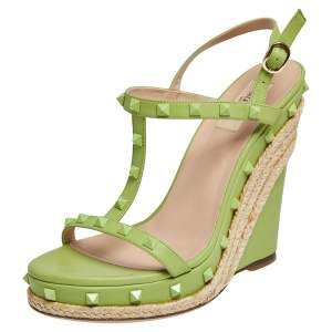 Valentino Lime Green Leather Rockstud T Strap Espadrille Wedges Size 41