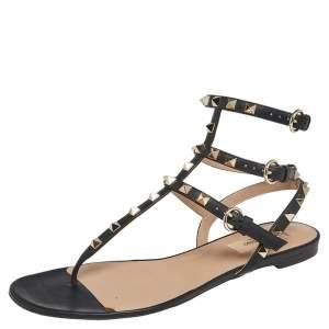 Valentino Black Leather Rockstud Ankle Strap Flat Sandals Size 39.5