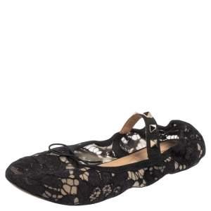 Valentino Black Lace Rockstud Bow Detail Ballet Flats Size 35