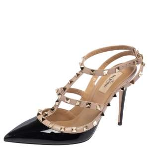 Valentino Black/Beige Patent And  Leather Rockstud Caged Ankle Strap Sandals Size 40