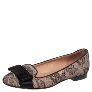 Valentino Black/Beige Lace Bow Ballet Flats Size 37
