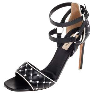 Valentino Black Quilted Leather Rockstud Ankle Strap Sandals Size 39.5