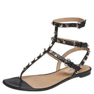 Valentino Black Leather Rockstud Thong Flat Sandals Size 36.5