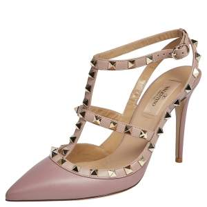 Valentino Pink Leather Rockstud Pointed Toe Sandals Size 38.5