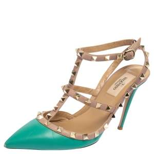 Valentino Pink/Green Leather Rockstud Pointed Toe Sandals Size 38