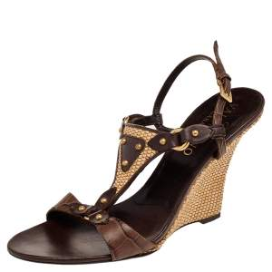 Valentino Brown Embossed Leather Wedge Sandals Size 37