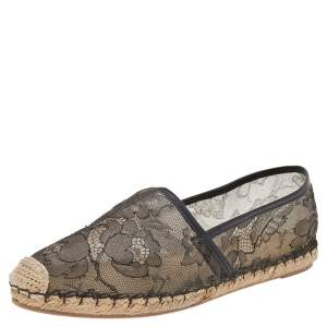Valentino Black/Biege Leather And Lace Espadrilles Size 38