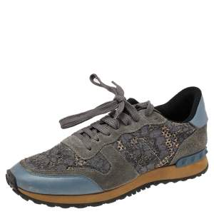 Valentino Grey/Blue Lace And Suede Rockrunner Low Top Sneakers Size 40