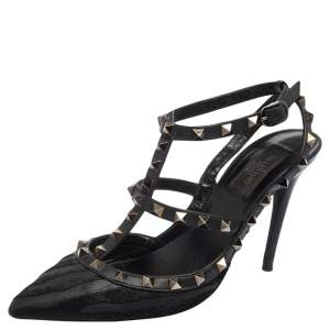 Valentino Black Calf Hair and Leather Rockstud Pointed Toe Sandals Size 38.5
