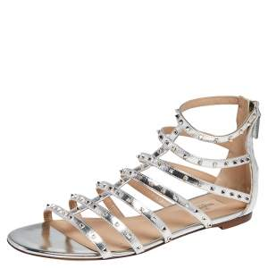 Valentino Metallic Silver Leather Rockstud Cage Flat Sandals Size 41