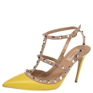 Valentino Beige/Yellow Leather Rockstud Ankle Strap Sandals Size 40