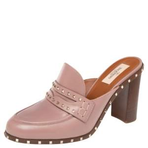 Valentino Pale Pink Leather Rockstud Penny Loafer Mules Size 38.5