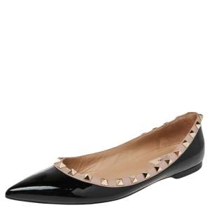 Valentino Black Patent And Leather Rockstud  Ballet Flats Size 38