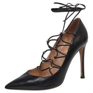 Valentino Black Leather Rockstud Lace Up Pointed Toe Pumps Size 39.5
