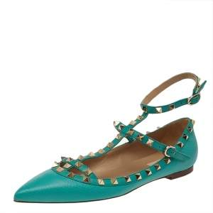 Valentino Green Leather Rockstud Ankle Strap Flat Sandals Size 40