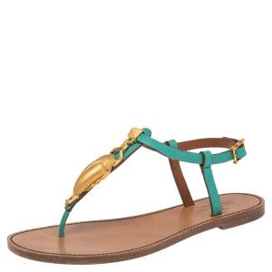 Valentino Green/Beige Leather Scarab Thong Sandals Size 38