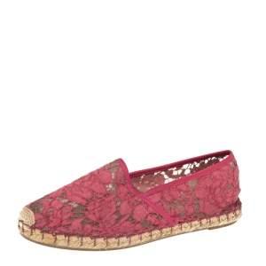 Valentino Pink Lace Epadrille  Flats Size 39
