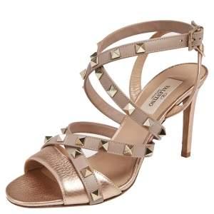 Valentino Metallic Bronze/Beige Leather Rockstud  Strappy Sandals Size 36